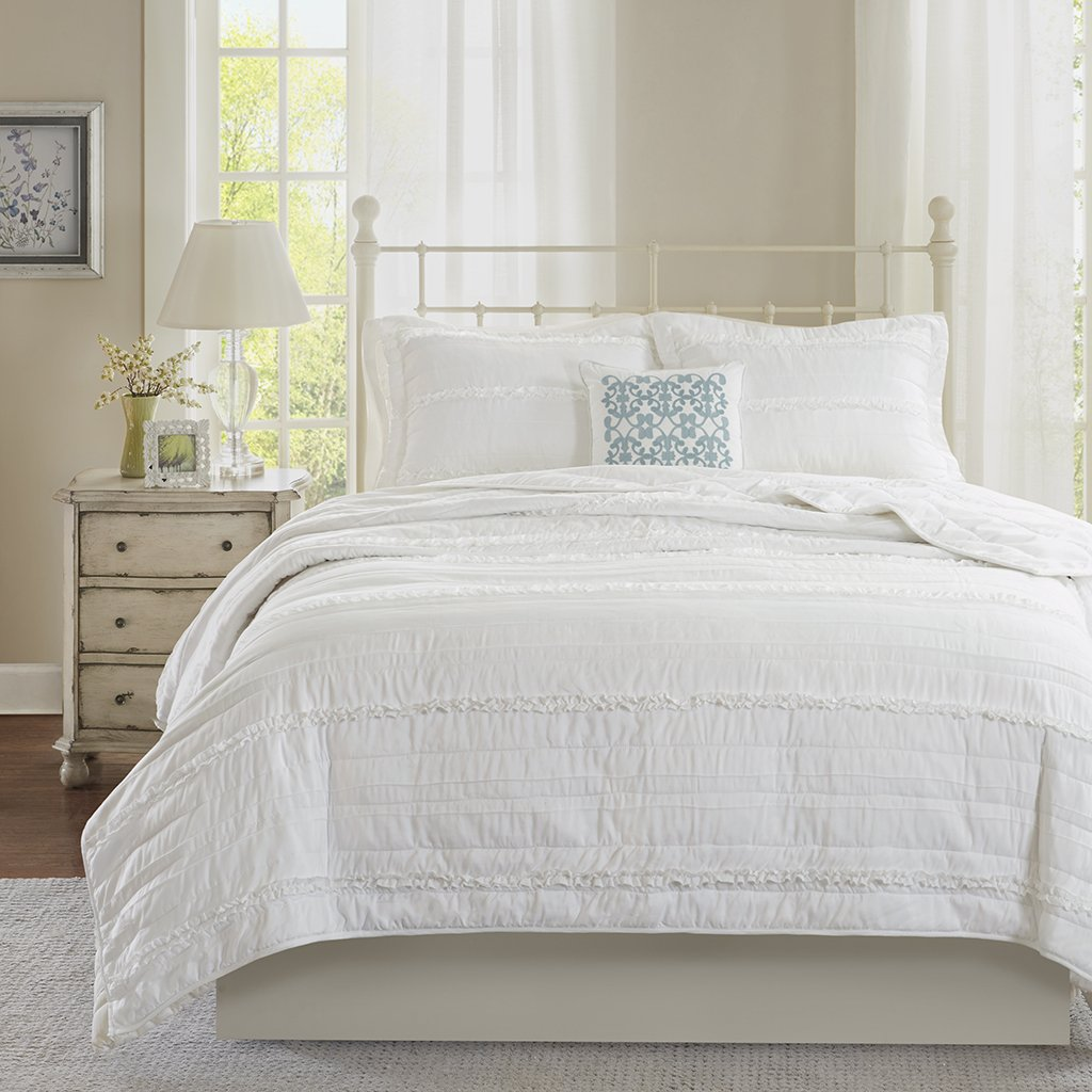 Madison Park Celeste Full/Queen Size Quilt Bedding Set - White, Ruffle Stripes – 4 Piece Bedding Quilt Coverlets – Ultra Soft Microfiber Bed Quilts Quilted Coverlet