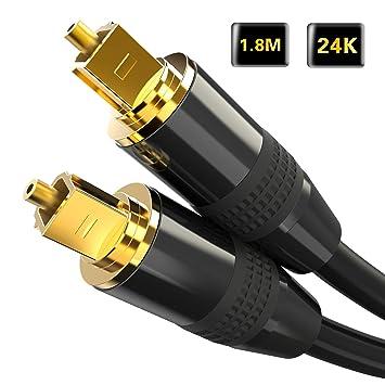Cable óptico Inpher 24 K 1,8 m Chapado en Oro Toslink Cable de Audio