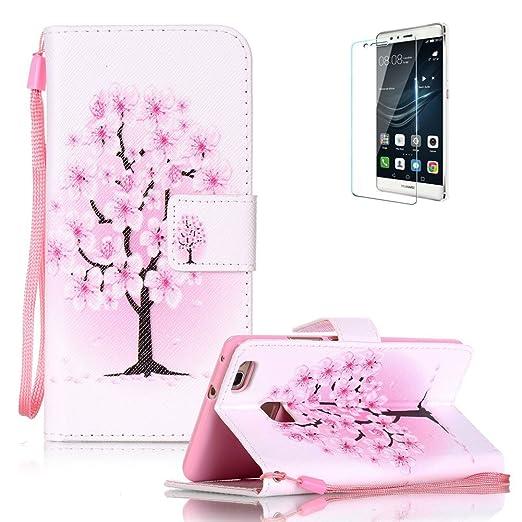 8 opinioni per Funyye Custodia Huawei P9 Lite Pelle Portafoglio Cover Fiori Rosa Disegni Libro