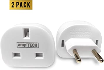 Amptech - Adaptador de Enchufe de Reino Unido a Europa (2 Unidades ...