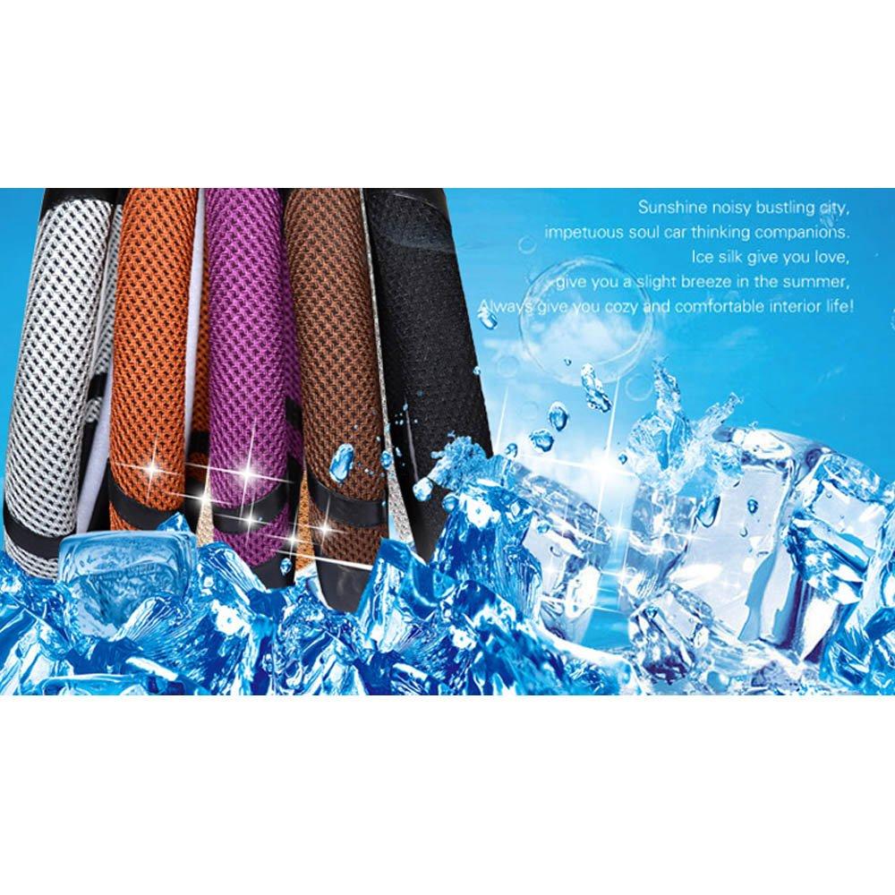 Gris 38cm 38CM 40CM Cool Skid Proof /& Respiration Absorbant la Sueur et S/échage Instantan/é Super PDR Couvre Volant Caches de Volant Microfibre Cuir Ice Silk 36CM