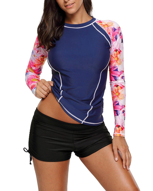 EVALESS Womens Long Sleeve Sun Protection Splice Rashguard Swim Shirt Tops Medium Blue