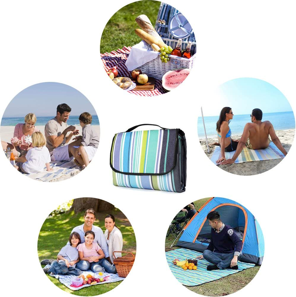 LIVEHITOP Picnic Blanket 200x200cm Waterproof Portable Compact Outdoor Mat Rugs for Camping Travel Family Spring Summer Beige Check