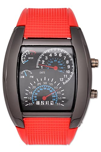 DSstyles azul y blanco de luz LED RPM Turbo velocímetro Aviation Poilet digital binario reloj de pulsera reloj deportivo - Rojo: Amazon.es: Relojes
