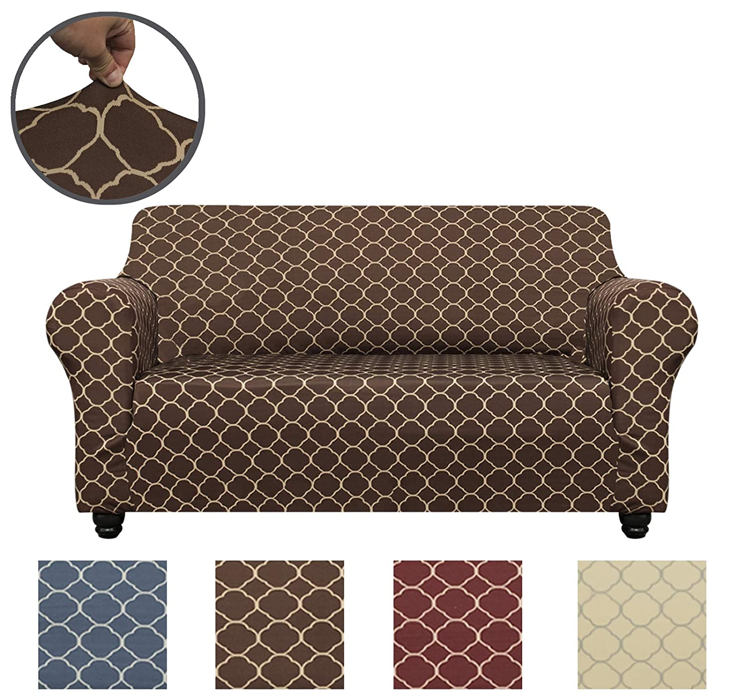 Beige, Loveseat CHHKON 1-Piece Sofa Cover Furniture Protector with High Stretch,Machine Washable