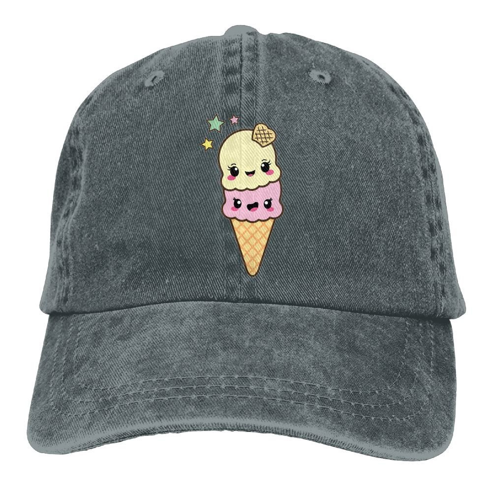 Sakanpo Cute Ice Cream Unisex Cowboy Baseball Caps Dad Hats Natural