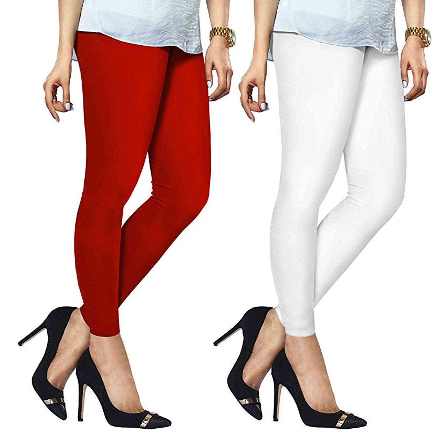 Ardour Ultra Soft Pack of 2 Red & White High Waist Full Length Cotton Lycra Churidar Legging for Women - Free Size.24-32'' inch Waist (Stretchable)