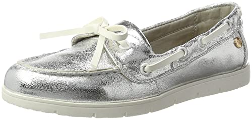 XTI Silver Metallic Ladies Shoes, Mocasines para Mujer, Plateado, 35 EU: Amazon.es: Zapatos y complementos
