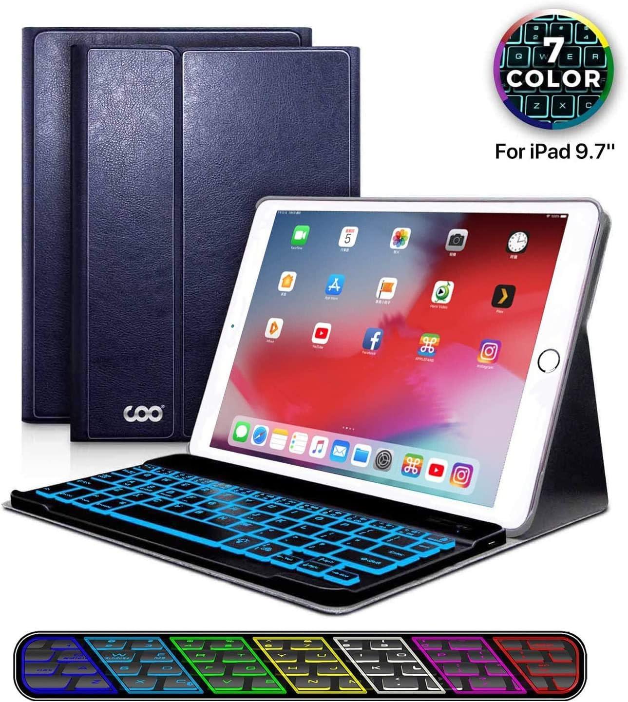 Funda con Teclado iPad 9.7, Funda iPad con Teclado Español (Incluye Ñ) Bluetooth con Retroiluminado de 7 Colores para iPad 2018/iPad 2017/iPad Pro 9.7/iPad Air 2/1-Funda con Magnético (Azul oscuro)