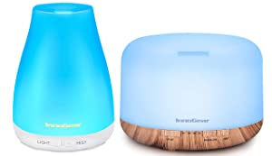 InnoGear Essential Oil Diffuser, Diffusers for Essential Oils Aromatherapy Diffuser Cool Mist Humidifier Aroma Diffusers with Colorful LED Lights 2 Mist Modes Waterless Auto off