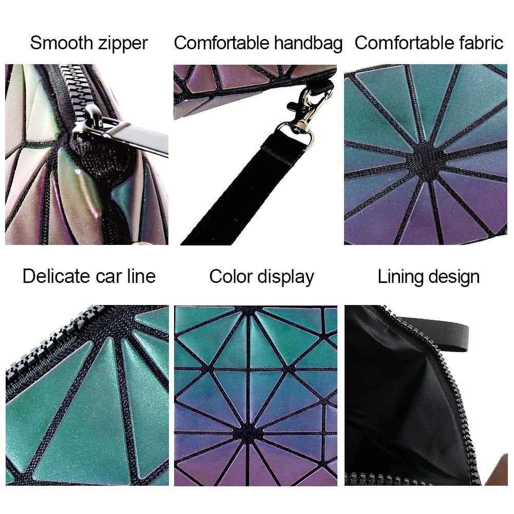 7ec914b71 Beautier Holographic Reflective Luminous Handbag Lattice Design Geometric  Bag Unique Purses Soft PU Leather Wristlet Clutch