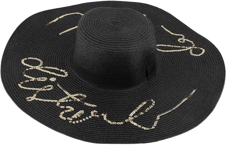 Alphabet Wide Large Brim Straw Hats Elegant Vintage Beach Womens Panama Sun Hat Visors Casual Travel Caps