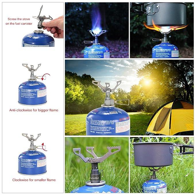 Lixada Mini Estufa de Gas de Bolsillo de Una Sola Pieza de Aleación de Titanio Cocina Al Aire Libre Quemador: Amazon.es: Electrónica