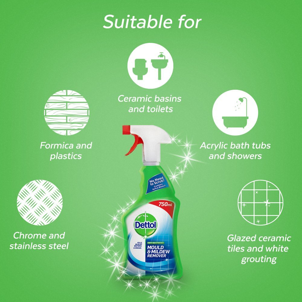 Dettol Mould And Mildew Remover Spray 750 Ml Prime Antiseptic Liquid 500 2 Pcs Flash Pantry