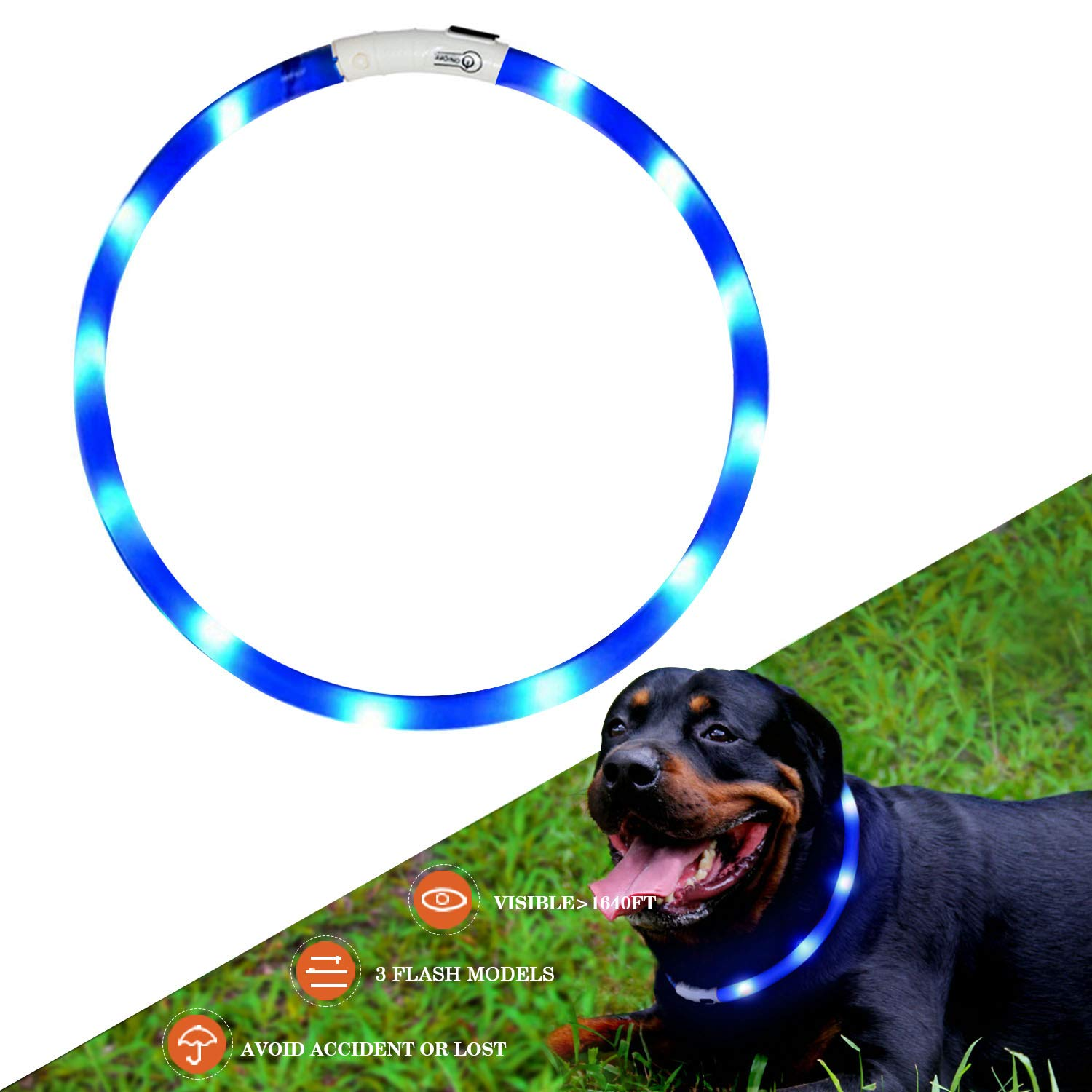 LED Dog Collar, USB Rechargeable Flashing Light Up Night Safety Collar Soft Silicone Waterproof Length Adjustable Pet Necklace Collar (bluee)