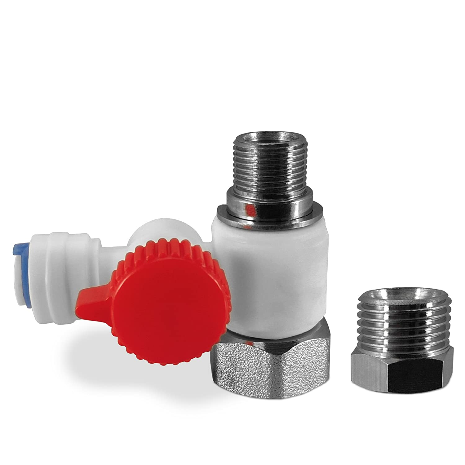 """Express Water RO Feed Adapter Valve Quick Connect for Undersink Reverse Osmosis System Fits Both 3/8"""" & 1/2"""" Connection LEAD FREE"""