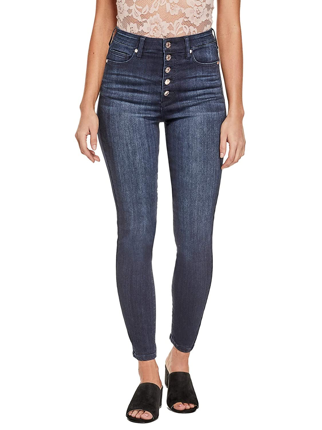 Guess Factory Women's Vinara Button High-Rise Skinny Jeans GuessFactory