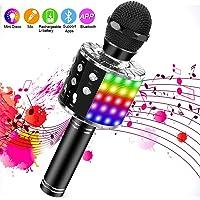 SaponinTree Microfono Inalámbrico Karaoke, Micrófono Karaoke Bluetooth Portátil con Altavoz con Luces de Baile LED para Canta Partido Musica Reproductor
