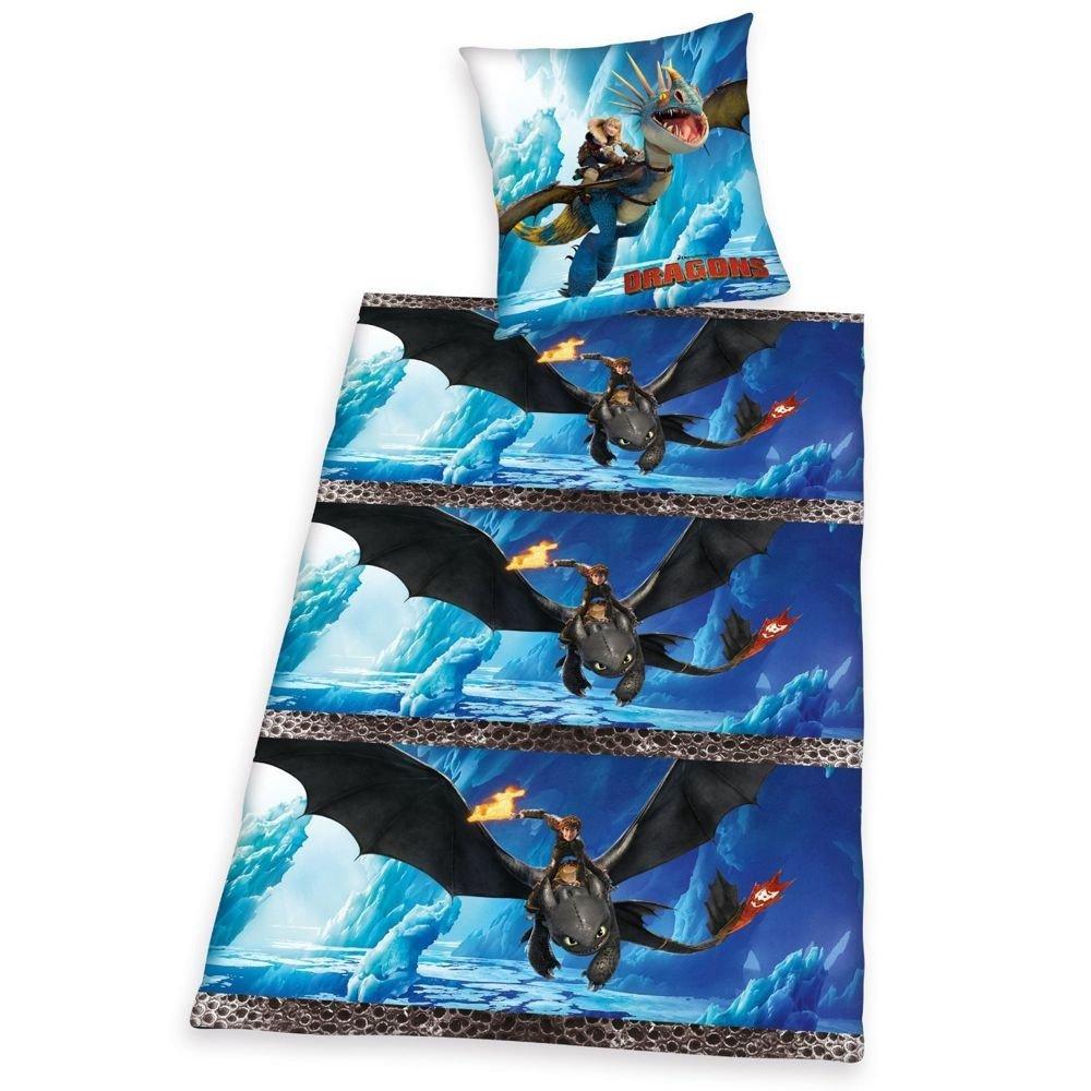Dragons Enfants housse de couette /& taie r/éversible microfibres 80//80 x 135//200cm