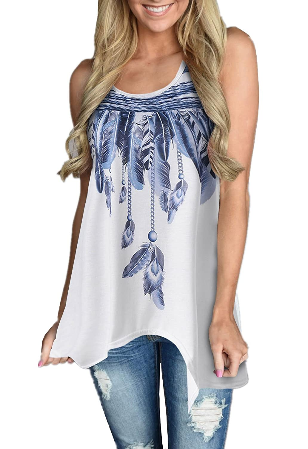 479690c09d Cute white long tank tops casual loose fit sleeveless tunic dress with feather  print