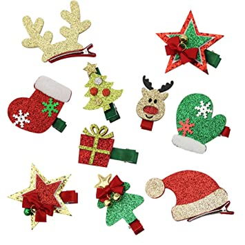 Christmas Hair Clips.Qtgirl 10 Pcs Christmas Toddler Baby Kids Girls Hairpins Xmas Party Glitter Hair Clips Barrettes