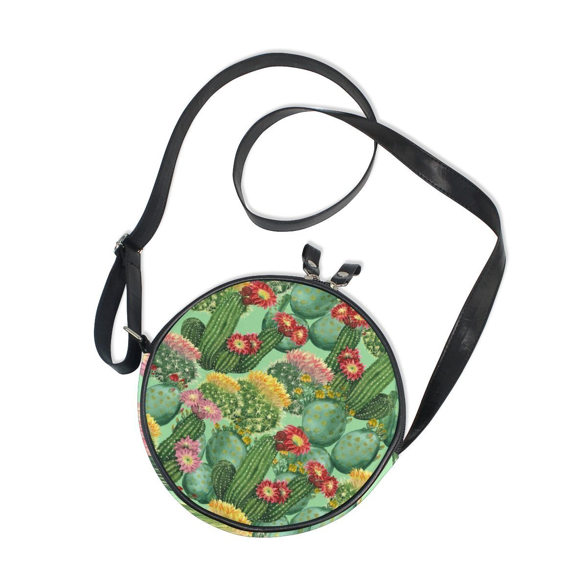Flamingo Pineapple Girl Round Crossbody Shoulder Bags Adjustable Top Handle Bags Satchel for Women