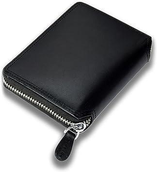 Lackingone RFID Cartera Cremallera Hombre Billetera Cremallera Hombre Monedero de Cuero para Tarjeta de Crédito Color Negro: Amazon.es: Equipaje