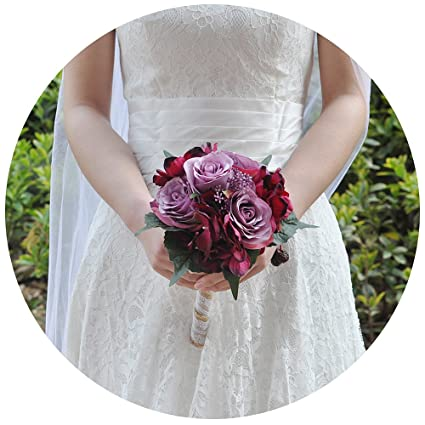 Amazon.com: ULAPAN Wedding Bouquets For Bride,Silk roses Bouquets ...