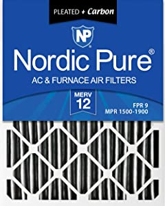 Nordic Pure 16x20x1 MERV 12 Pleated Plus Carbon AC Furnace Air Filters, 16 x 20 x 1, 3 Piece
