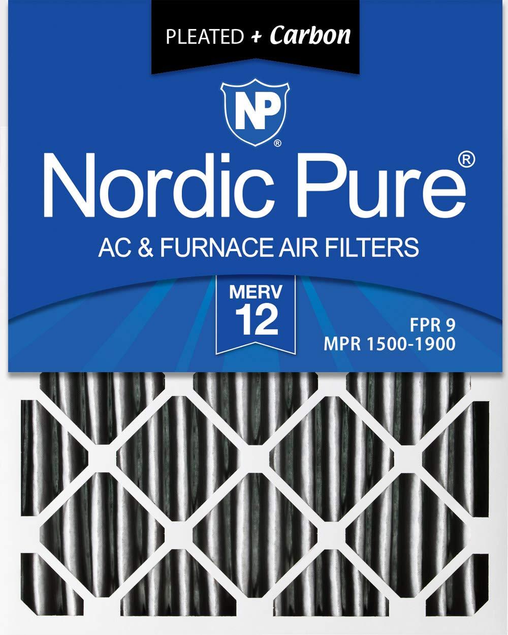 Nordic Pure 14 x 25 x 1pm12 C-12プリーツMERV 12 PlusカーボンAC炉フィルタ12パック、14 x 25 x 1