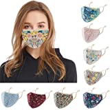 Women Men Face Bandanas With Floral Exotic Printed with Adjustable Earloop Face-Macks (9pcs)