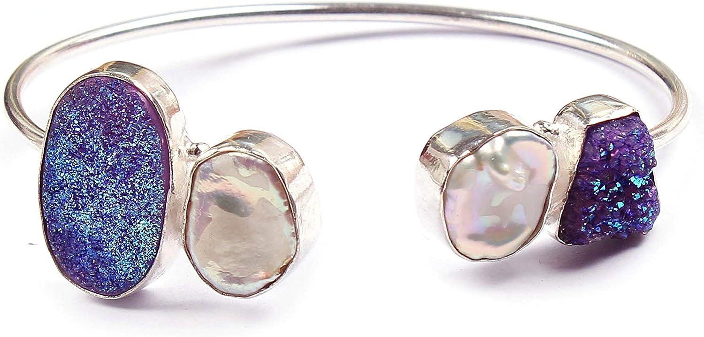 Neerupam Collection Natural Multicolor Perla druzy Piedras Preciosas Plateado Pulsera Hecha a Mano joyería de Moda para Mujeres (BRS-22)