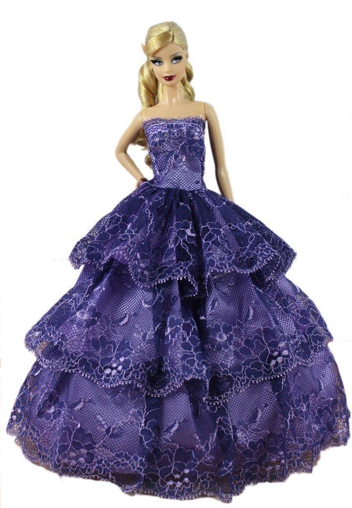Mode Luxus 6pc Dress Barbie Hochzeitskleid Puppe Kleidung Kleider ...