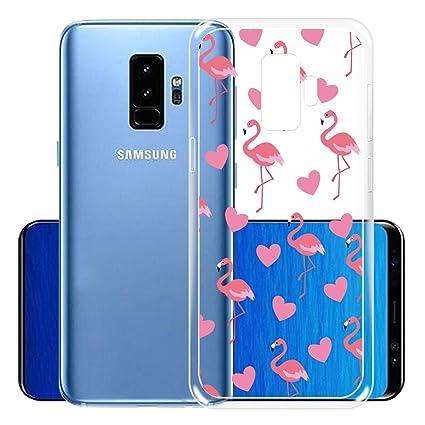 IJIA Funda para Samsung Galaxy S9 Plus Transparente Amar Corazon Flamencos TPU Silicona Suave Cover Tapa Caso Parachoques Carcasa Cubierta para ...