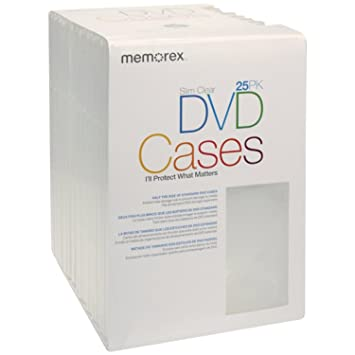 Memorex Slim DVD Video Storage Cases - 25 Pack - Clear