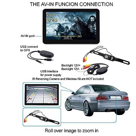 """Electronicsmaster - Navegador GPS de 7"""" con cámara de marcha atrás inalámbrica para coche ("""