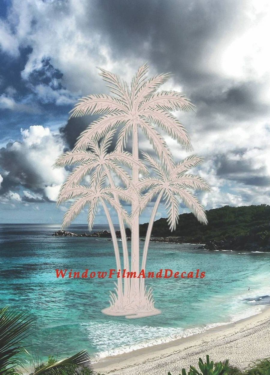 Oval Palm Tree Etched Window Decal Vinyl Glass Cling - 8'' x 12'' - Clear with White Design Elements