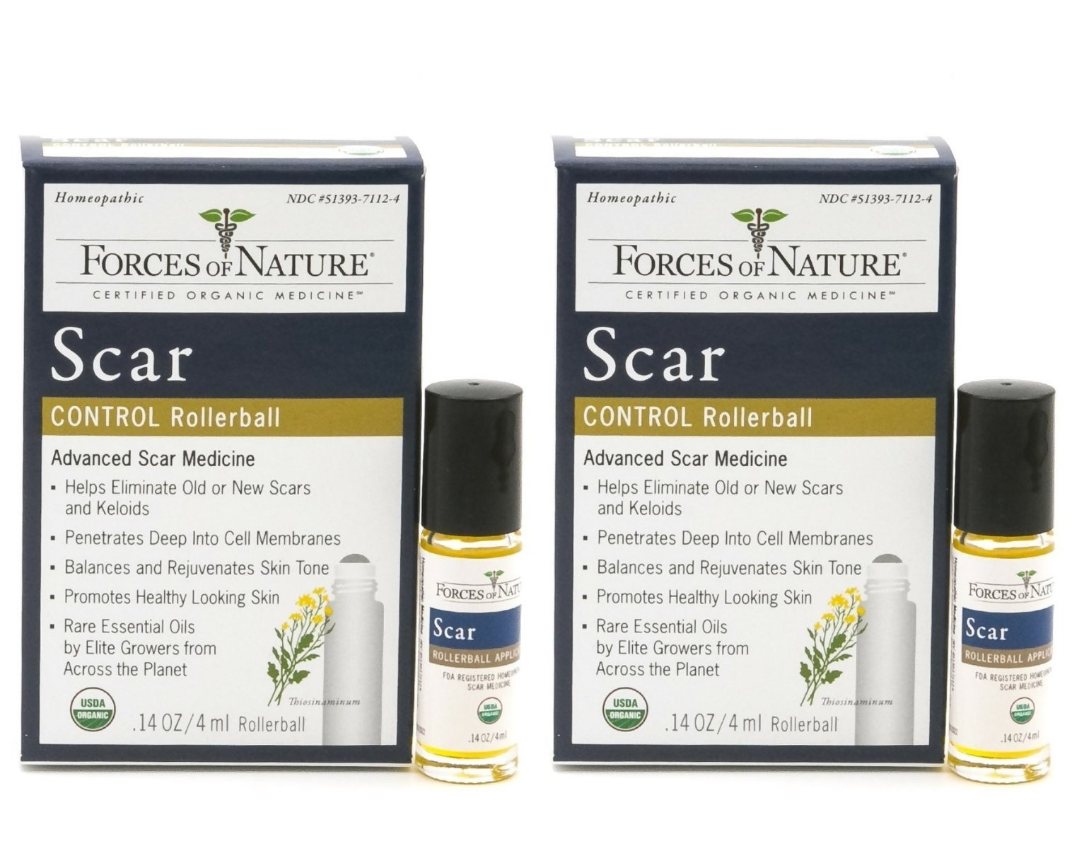 Forces of Nature Scar Control (Pack of 2) With Mustard Seed, Rosehip Oil, Rosemary Oil, Everlasting Oil, Lavender Oil and Sesame Oil, 11 ml. Each by Forces of Nature Naturals