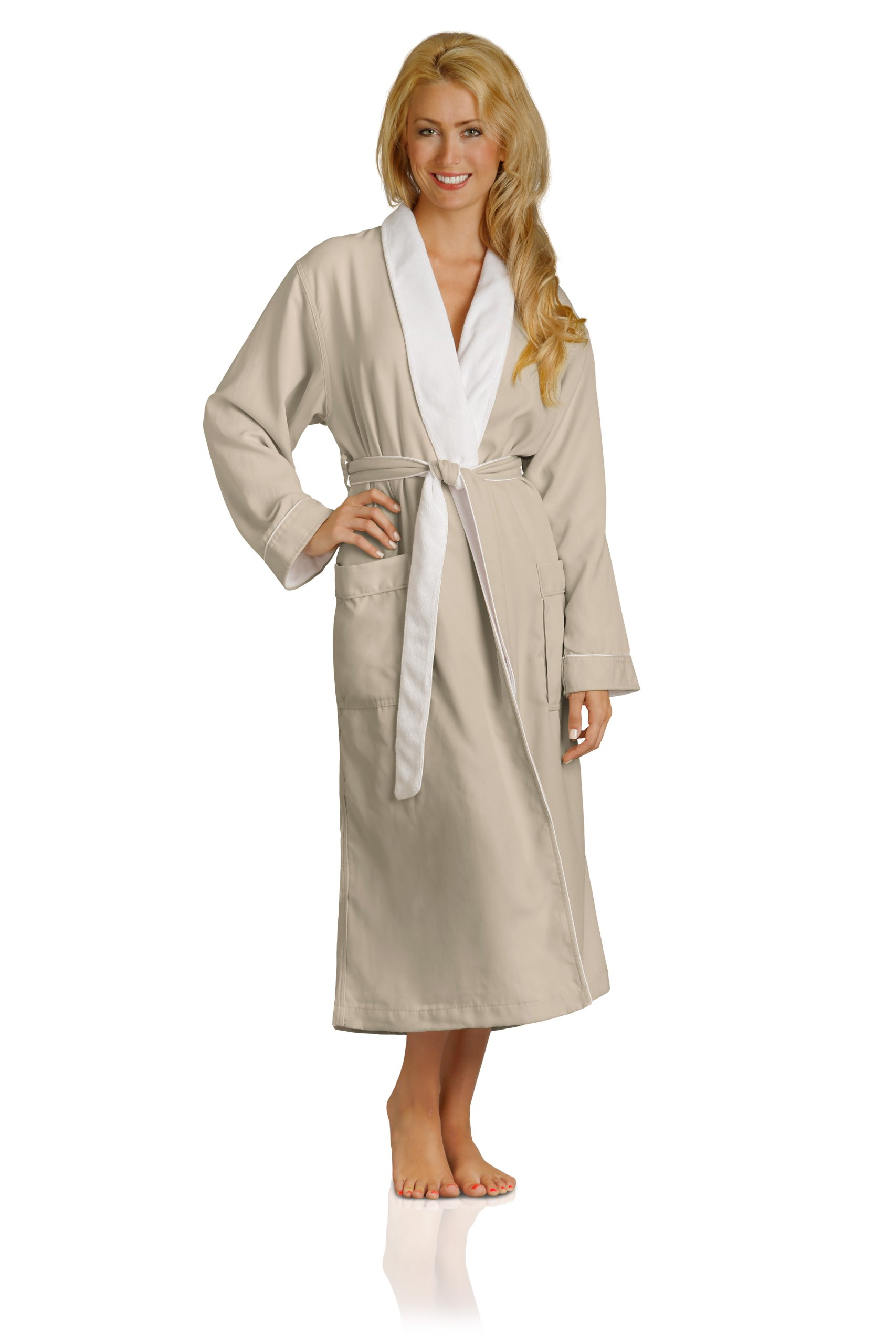 Luxury Spa Robe - Microfiber with Cotton Terry Lining, Seashell, XXX-Large