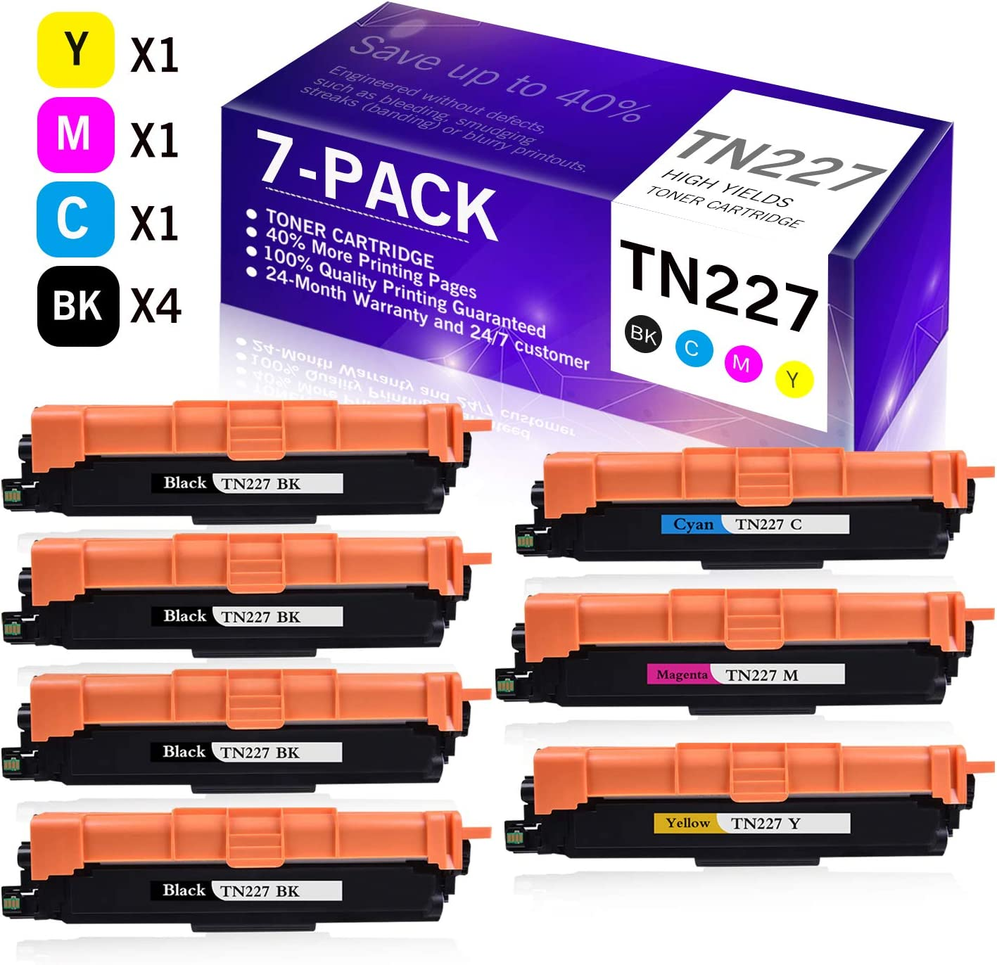 4BK+1C+1M+1Y 7-Pack Replacement Toner Cartridge Compatible for Brother TN-227 TN227 MFC-L3770CDW MFC-L3730CDW HL-3210CW HL-3230CDW HL-3290CDW DCP-L3510CDW DCP-L3550CDW Printer