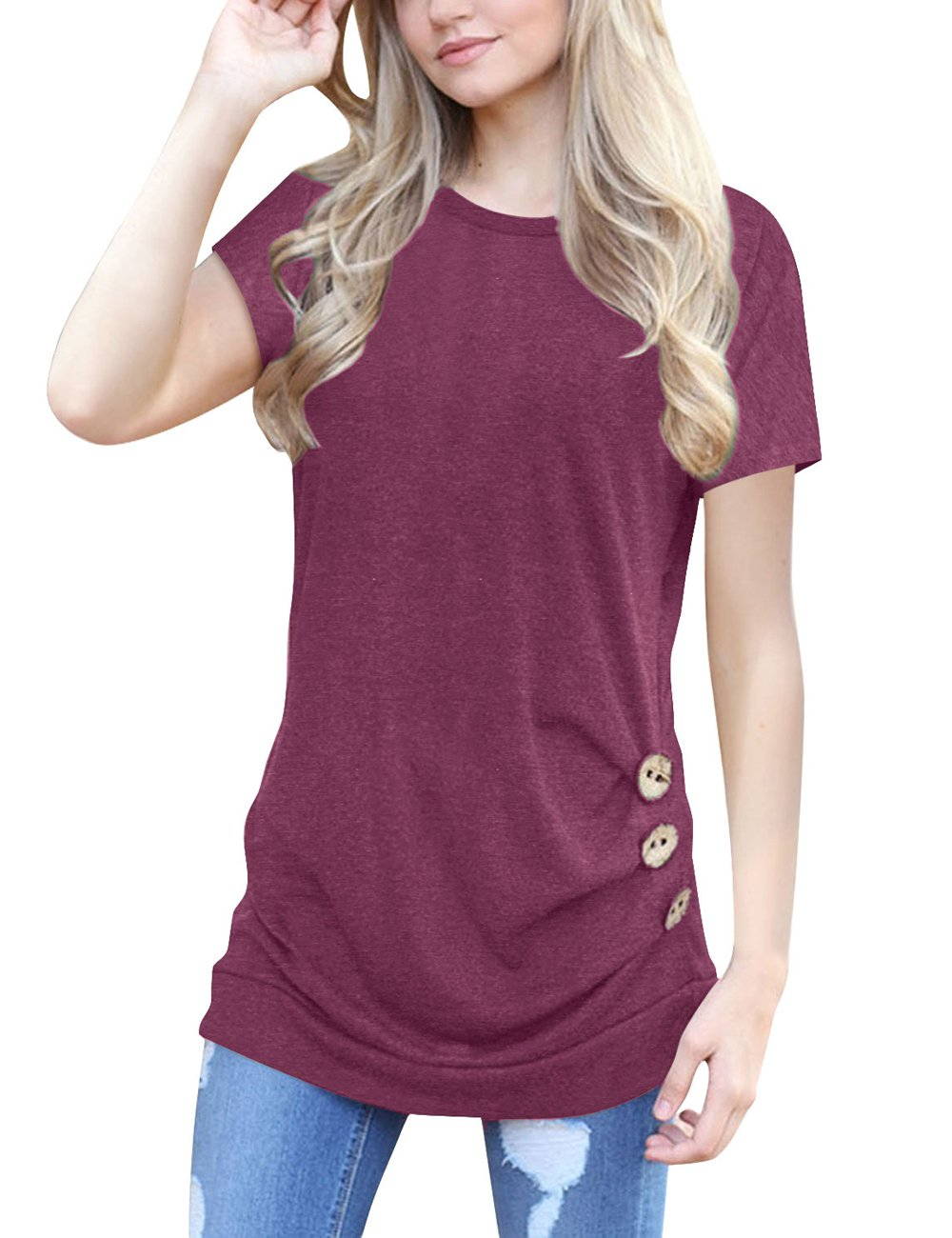 Ladylala Womens Casual Round Neck Short Sleeve T-Shirt Button Trim Solid Color Blouse Tunic Top (X-Large, Wine Red)