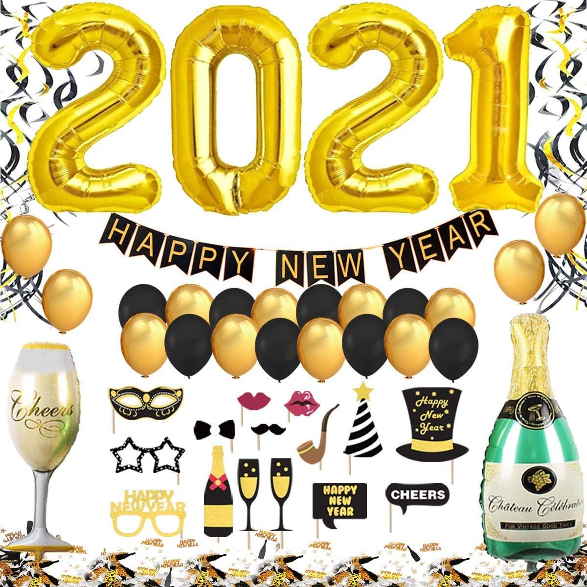 Decoracion Nochevieja 2021 XXL Set, Banderinas Feliz Año Happy New Year,Globos 2021 Gigantes, Accesorios de Fotomaton, Globos Confeti y Remolinos para Fiesta de Víspera de Año