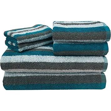 6 piezas Juego de toallas de rayas de color rojo con 27 x 52 pulgadas de ...