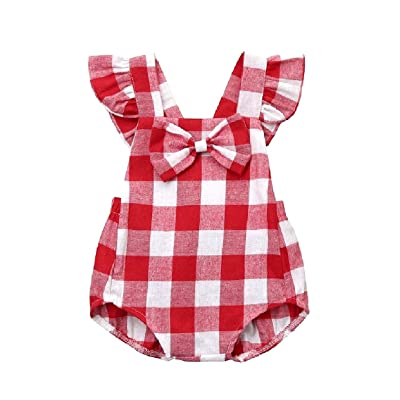 Abetteric Kids Girls Bow Fine Cotton One-Piece Overalls Rompers Bodysuit