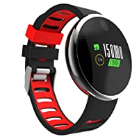 NEWYES Fitness Tracker Colorful Display Sport Mode Heart Rate Blood Pressure Alarms Sleeping Monitoring Call Reminder Message Push Remote Camera for Android iPhone X/8/7 Plus Huawei