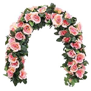 YUYAO 3PCS(21.6FT) Artificial Rose Vines Fake Silk Flower Garlands Plant Hanging Rose Vine Garland Wedding Home Garden Arch Arrangement Decoration (Champagne Pink)