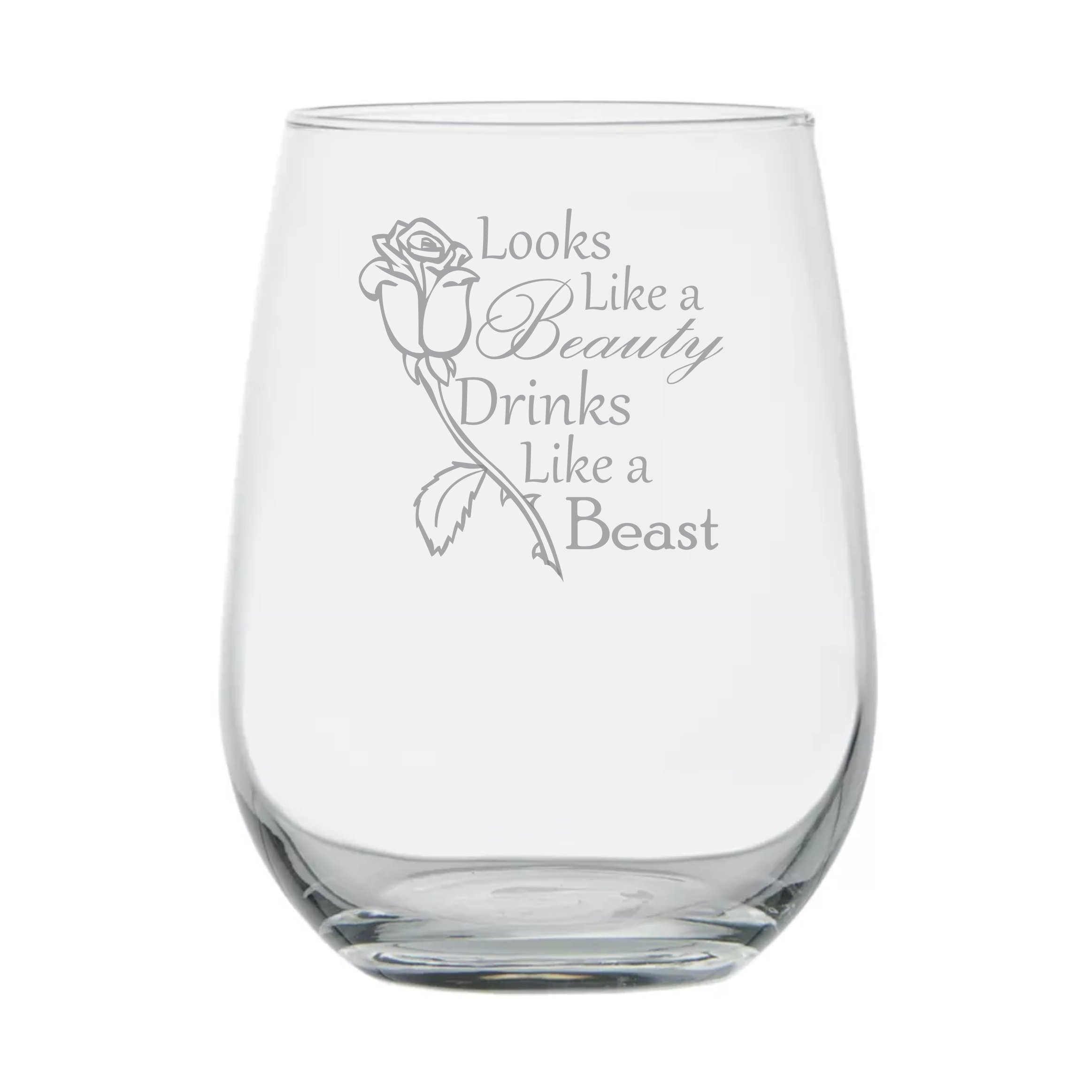 Looks Like a Beauty, Drinks Like a Beast - Rose - Disney Princess Wine Glass - Birthday Glass - Gifts for Friend - Girlfriend Anniversary Couples Gifts - Glass Dome- Movie Themed