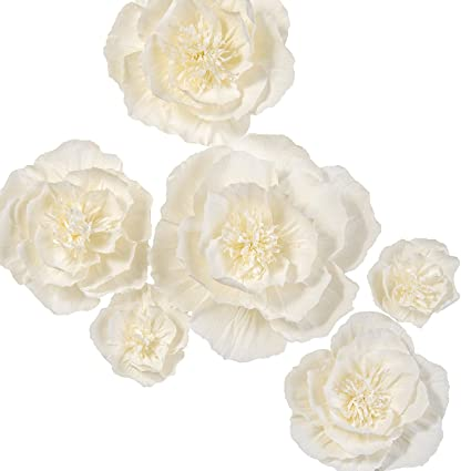 Amazon lings moment cream white crepe paper flowers set of 6 lings moment cream white crepe paper flowers set of 6 handcrafted wedding flower mightylinksfo