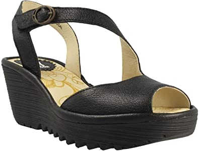 be26303793be Fly London Yamp836fly Black Womens Leather Wedge Sandals Shoes ...