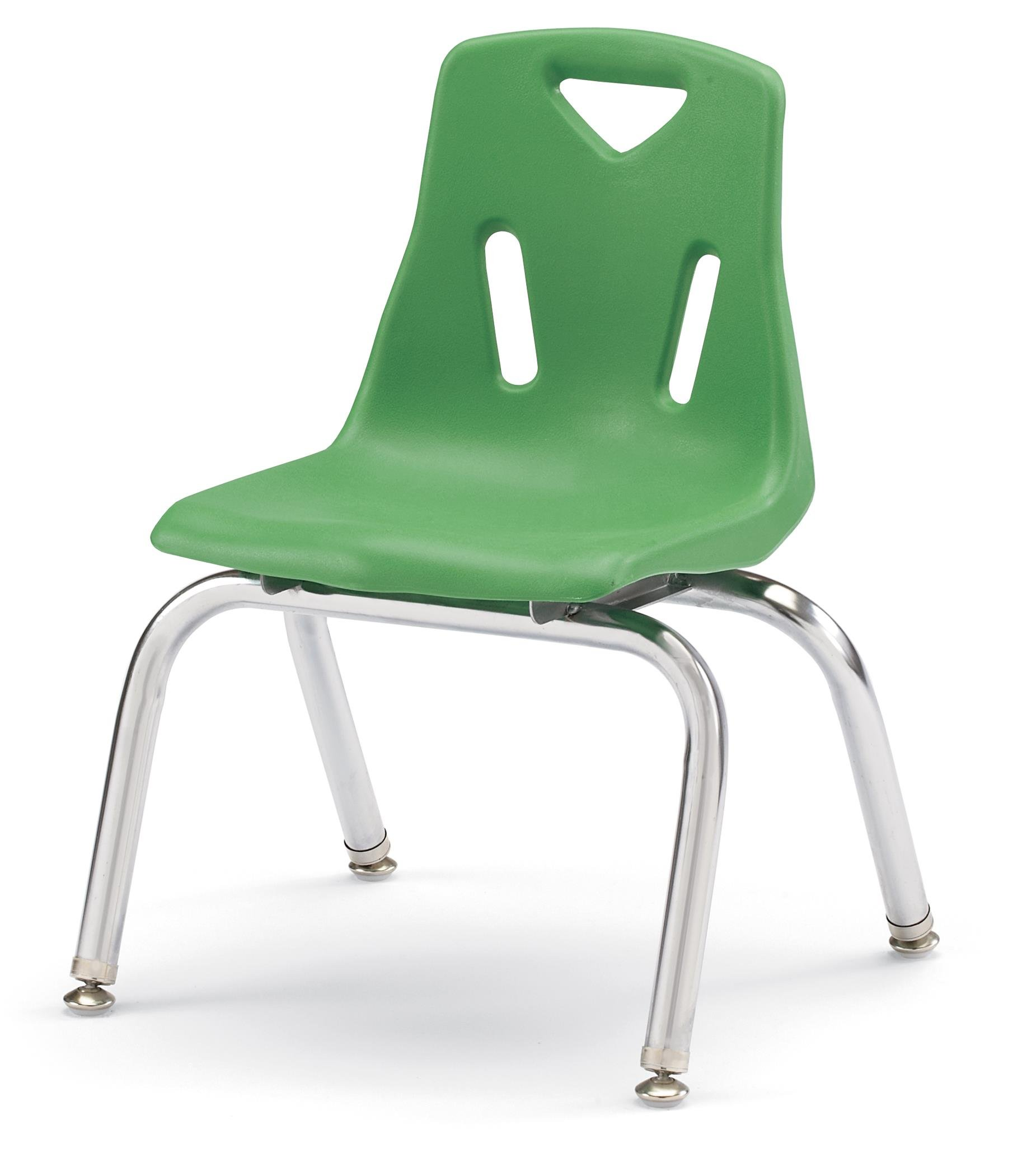 Berries 8148JC6119 Stacking Chairs with Chrome-Plated Legs, 18'' Ht, 19.5'' Height, 31.5'' Wide, 23.5'' Length, Green (Pack of 6)